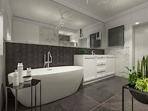 Dom w stylu klasycznym - Średnia czarna szara łazienka w bloku w domu jednorodzinnym z oknem, styl klasyczny - zdjęcie od MEEKO Architekci