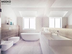 Dom w stylu minimalistycznym - Średnia beżowa łazienka w domu jednorodzinnym z oknem, styl minimalistyczny - zdjęcie od MEEKO Architekci