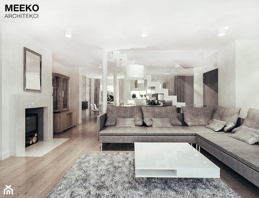 Dom w stylu minimalistycznym - Średni biały salon z jadalnią, styl minimalistyczny - zdjęcie od MEEKO Architekci