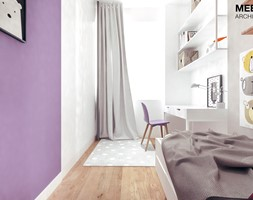 Mieszkanie loft w Mielcu - Mały biały fioletowy pokój dziecka dla dziewczynki dla ucznia dla malucha dla nastolatka, styl nowoczesny - zdjęcie od MEEKO Architekci