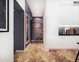 Mieszkanie loft w Mielcu - Średnia otwarta biała czarna kuchnia jednorzędowa, styl industrialny - zdjęcie od MEEKO Architekci