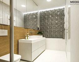 Mieszkanie w stylu nowoczesnym w Rzeszowie. - Mała czarna szara łazienka w bloku w domu jednorodzinn ... - zdjęcie od MEEKO Architekci - Homebook