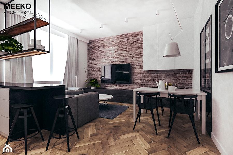 Aranżacje wnętrz - Jadalnia: Mieszkanie loft w Mielcu - Średnia otwarta biała jadalnia w kuchni w salonie, styl industrialny - MEEKO Architekci. Przeglądaj, dodawaj i zapisuj najlepsze zdjęcia, pomysły i inspiracje designerskie. W bazie mamy już prawie milion fotografii!
