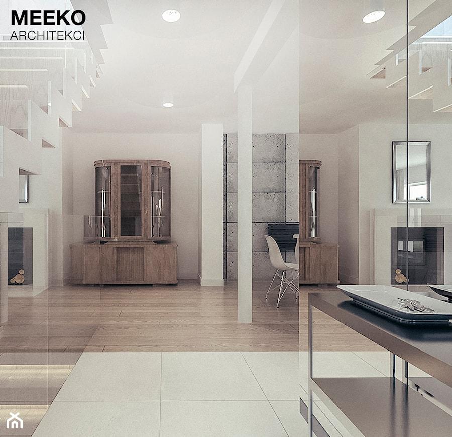Dom w stylu minimalistycznym - Duży biały hol / przedpokój, styl minimalistyczny - zdjęcie od MEEKO Architekci