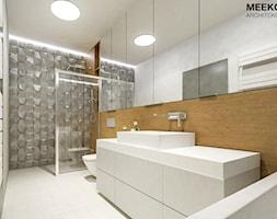 Mieszkanie w stylu nowoczesnym w Rzeszowie. - Średnia szara łazienka w bloku w domu jednorodzinnym b ... - zdjęcie od MEEKO Architekci - Homebook