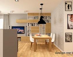 NOWOCZESNE BEMOWO - Średni szary biały salon z bibiloteczką z jadalnią, styl nowoczesny - zdjęcie od design me too