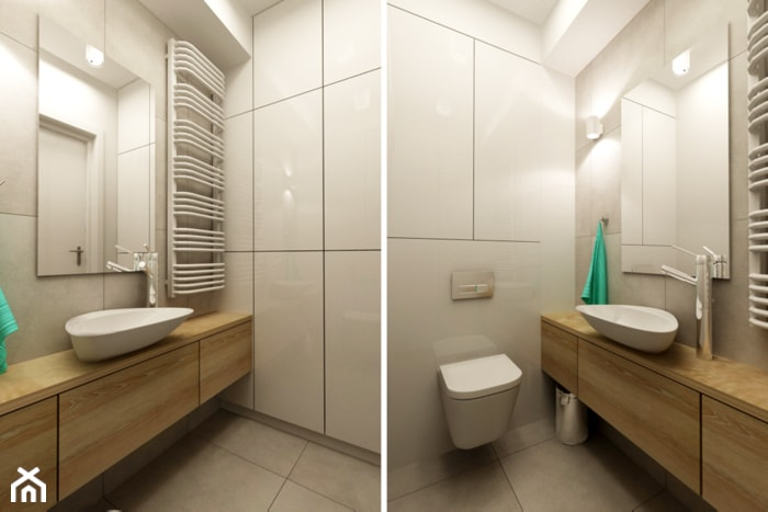 Mieszkanie Rembertów 80 m2 - Szara łazienka, styl minimalistyczny - zdjęcie od design me too