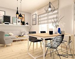 SKANDYNAWIA W NOWOCZESNYM WYDANIU NA WOLI - Średnia otwarta biała jadalnia w salonie, styl skandynawski - zdjęcie od design me too