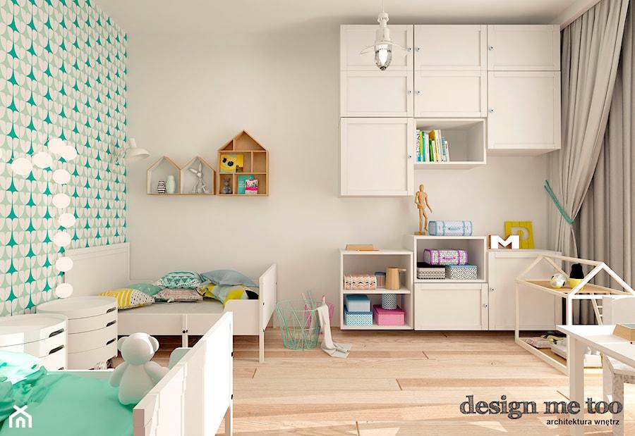 KAWAŁEK NIEBA NA WILANOWIE - Średni biały turkusowy pokój dziecka dla chłopca dla dziewczynki dla rodzeństwa dla malucha, styl skandynawski - zdjęcie od design me too
