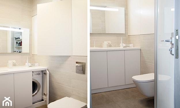 kremowe płytki w łazience, białe meble łazienkowe, szare płytki w łazience