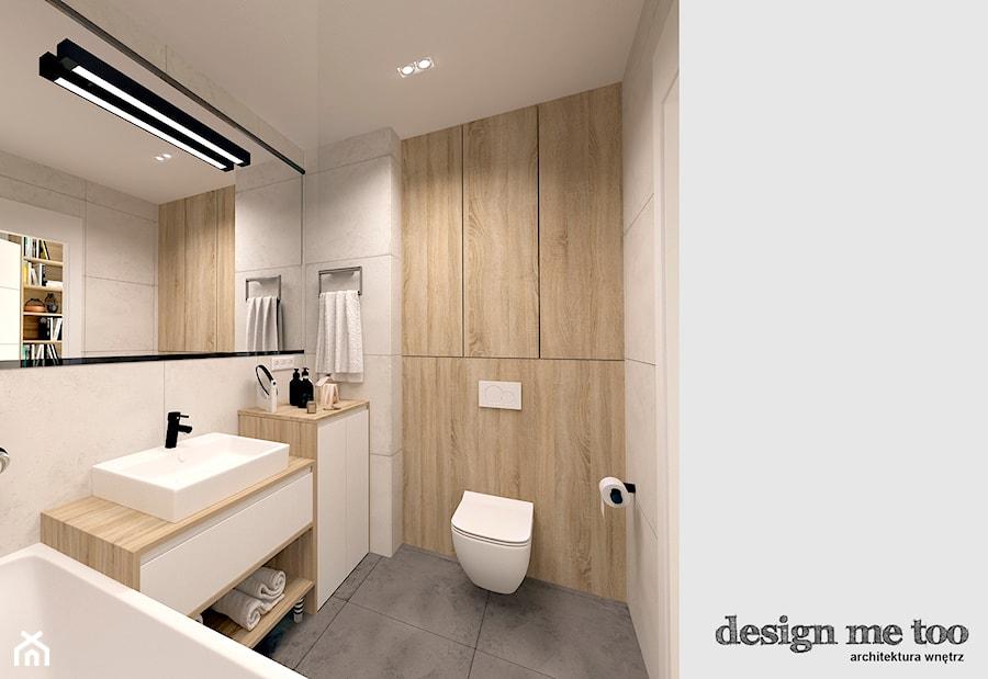 SKANDYNAWIA W NOWOCZESNYM WYDANIU NA WOLI - Mała beżowa brązowa łazienka w bloku bez okna, styl skandynawski - zdjęcie od design me too
