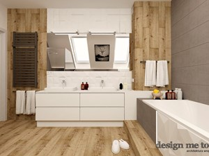 DOM W LESZNOWOLI - Średnia beżowa brązowa szara łazienka na poddaszu w domu jednorodzinnym z oknem, styl nowoczesny - zdjęcie od design me too