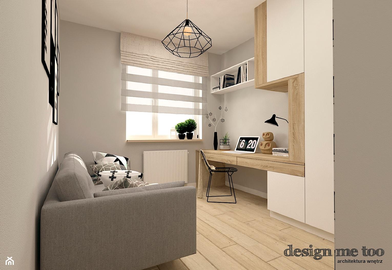 SKANDYNAWIA W NOWOCZESNYM WYDANIU NA WOLI - Średnie szare biuro kącik do pracy w pokoju, styl skandynawski - zdjęcie od design me too - Homebook