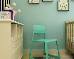 POKÓJ PAWEŁKA - Średni biały miętowy czarny pokój dziecka dla chłopca dla dziewczynki dla niemowlaka, styl nowoczesny - zdjęcie od design me too