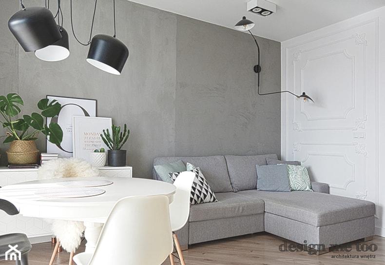 KAWALERKA NA BEMOWIE REALIZACJA - Średni szary biały salon z jadalnią, styl eklektyczny - zdjęcie od design me too