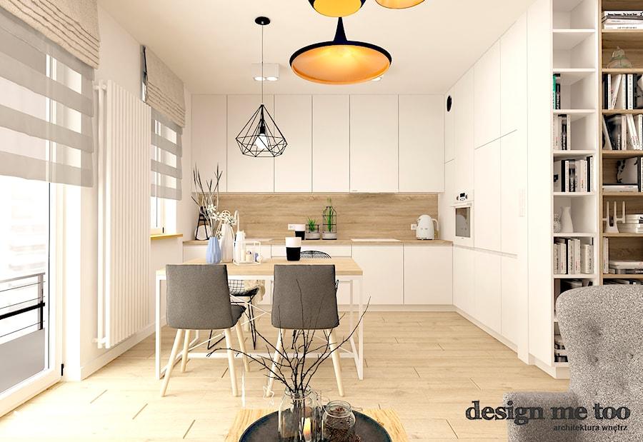 SKANDYNAWIA W NOWOCZESNYM WYDANIU NA WOLI - Średnia otwarta biała jadalnia w kuchni w salonie, styl skandynawski - zdjęcie od design me too