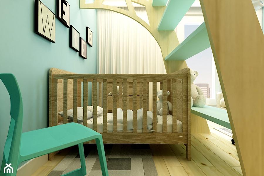 POKÓJ PAWEŁKA - Średni turkusowy pokój dziecka dla chłopca dla niemowlaka, styl nowoczesny - zdjęcie od design me too