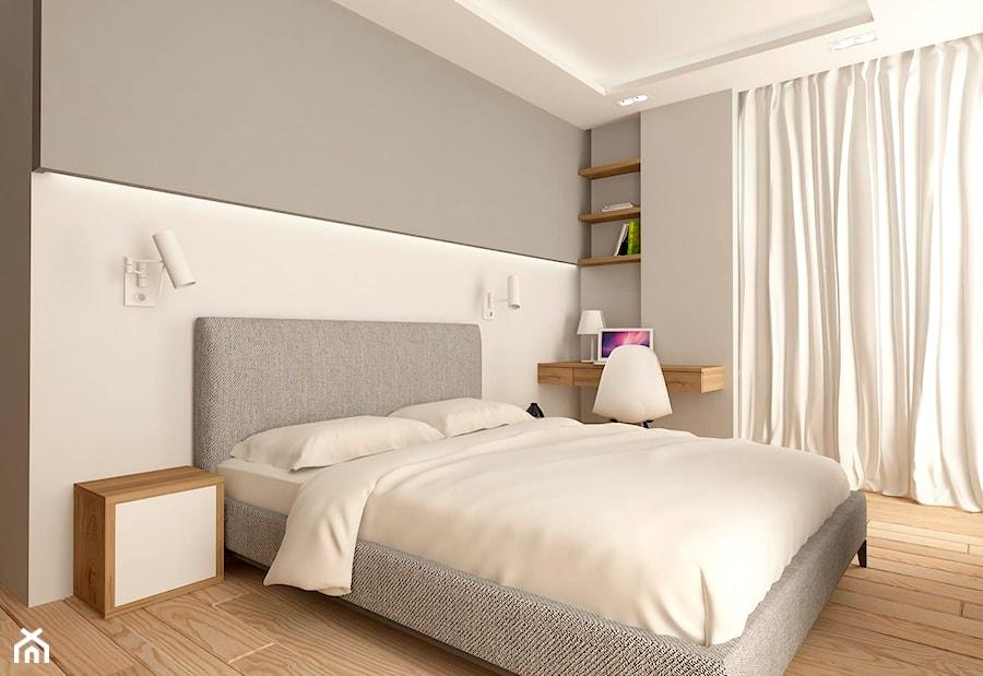 MIESZKANIE NA URSYNOWIE 85 M2 - Średnia biała szara sypialnia małżeńska, styl nowoczesny - zdjęcie od design me too