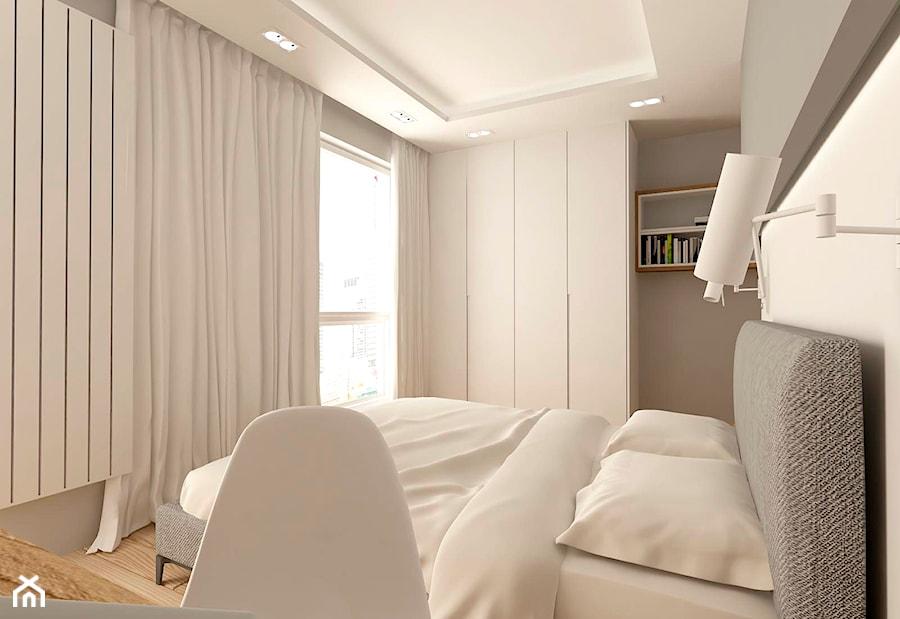 MIESZKANIE NA URSYNOWIE 85 M2 - Średnia beżowa sypialnia małżeńska z balkonem / tarasem, styl nowoczesny - zdjęcie od design me too