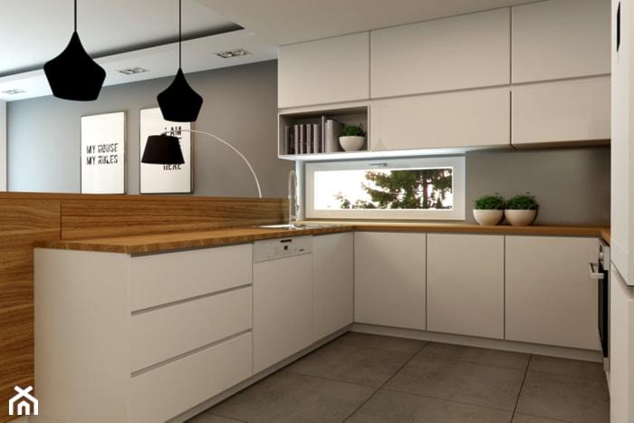 Mieszkanie Rembertów 80 m2  Mała otwarta kuchnia w kształcie litery u w anek