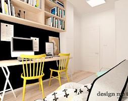 KAWAŁEK NIEBA NA WILANOWIE - Małe czarne białe biuro domowe kącik do pracy w pokoju, styl vintage - zdjęcie od design me too