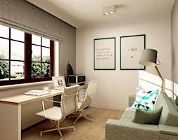 MINIMALISTYCZNY DOM - Średnie beżowe szare biuro kącik do pracy w pokoju, styl minimalistyczny - zdjęcie od design me too