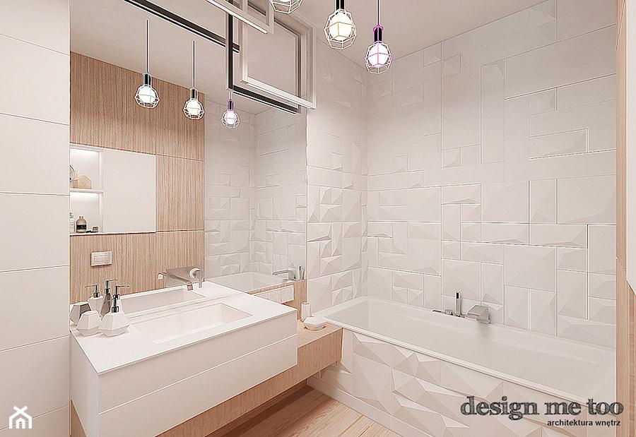 NOWOCZESNY APARTAMENT NA WILANOWIE - Średnia biała beżowa łazienka w bloku bez okna, styl nowoczesny - zdjęcie od design me too