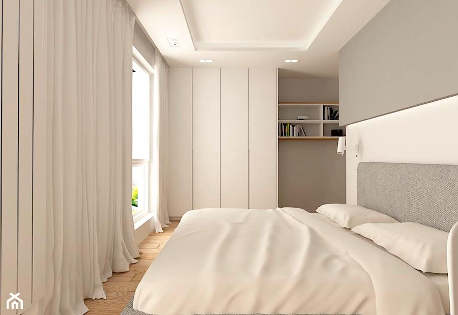 MIESZKANIE NA URSYNOWIE 85 M2 - Średnia biała szara sypialnia małżeńska, styl minimalistyczny - zdjęcie od design me too