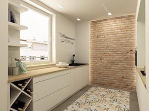 APARTAMENT NA GOCŁAWIU 120 m2 - Średnia wąska biała kuchnia dwurzędowa w aneksie, styl vintage - zdjęcie od design me too