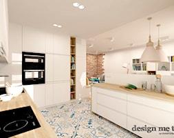 KAWAŁEK NIEBA NA WILANOWIE - Duża otwarta biała zielona kuchnia w kształcie litery u, styl nowoczesny - zdjęcie od design me too