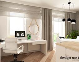 KAWALERKA NA BEMOWIE - Średnie szare białe biuro kącik do pracy w pokoju, styl klasyczny - zdjęcie od design me too