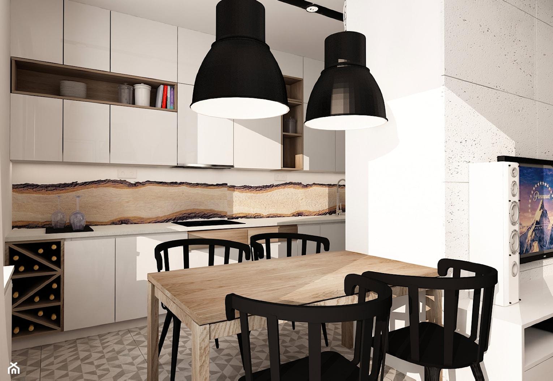 SKANDYNAWIA NA ŻOLIBORZU - Mała otwarta biała jadalnia w kuchni, styl skandynawski - zdjęcie od design me too - Homebook