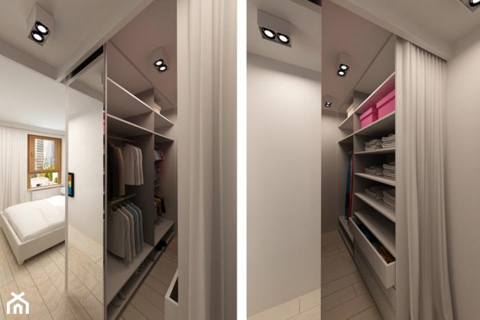 Nowoczesny Zielony Żoliborz - Mała otwarta garderoba przy sypialni, styl nowoczesny - zdjęcie od design me too