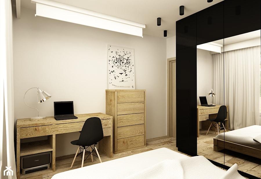 SOFT INDUSTRIAL NA BEMOWIE - Średnia beżowa sypialnia małżeńska, styl industrialny - zdjęcie od design me too