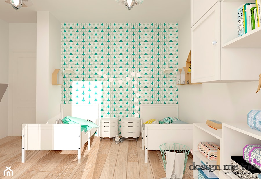 KAWAŁEK NIEBA NA WILANOWIE - Średni biały turkusowy pokój dziecka dla chłopca dla rodzeństwa dla malucha, styl skandynawski - zdjęcie od design me too