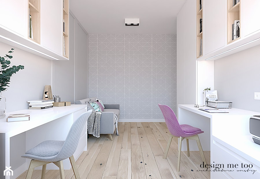 CIEPŁO SKANDYNAWSKICH WNĘTRZ - Średnie szare białe biuro domowe w pokoju, styl skandynawski - zdjęcie od design me too