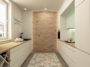 APARTAMENT NA GOCŁAWIU 120 m2 - Średnia zamknięta biała kuchnia dwurzędowa, styl vintage - zdjęcie od design me too