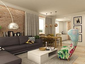 APARTAMENT NA GOCŁAWIU 120 m2 - Duży biały brązowy salon z bibiloteczką z jadalnią, styl eklektyczny - zdjęcie od design me too