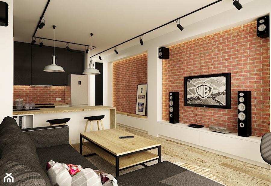 SOFT INDUSTRIAL NA BEMOWIE - Średni biały salon z kuchnią, styl industrialny - zdjęcie od design me too