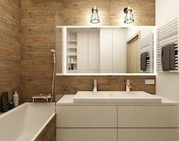 SOFT INDUSTRIAL NA BEMOWIE - Średnia beżowa brązowa łazienka w bloku bez okna, styl industrialny - zdjęcie od design me too - Homebook