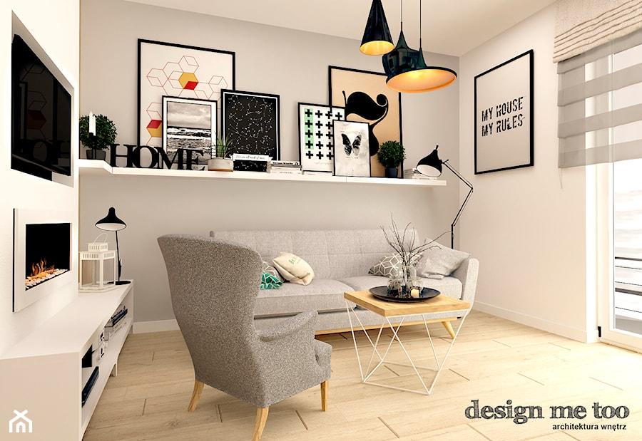 SKANDYNAWIA W NOWOCZESNYM WYDANIU NA WOLI - Szary biały salon, styl skandynawski - zdjęcie od design me too