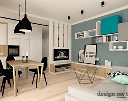 SZCZYPTA KOLORU NA SZCZĘŚLIWICACH - Średni biały niebieski salon z kuchnią z jadalnią, styl nowoczesny - zdjęcie od design me too