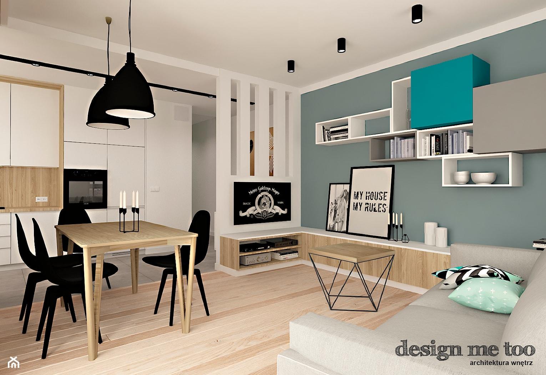 SZCZYPTA KOLORU NA SZCZĘŚLIWICACH - Średni biały niebieski salon z kuchnią z jadalnią, styl nowoczesny - zdjęcie od design me too - Homebook