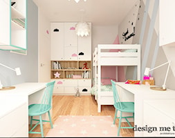 ARTYSTYCZNY ŻOLIBORZ W SKANDYNAWSKIM WYDANIU - Mały szary beżowy pastelowy różowy pokój dziecka dla dziewczynki dla rodzeństwa dla malucha, styl skandynawski - zdjęcie od design me too