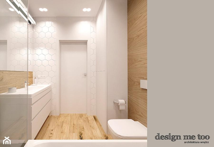 APARTAMENT W RUMI - Mała biała łazienka w bloku bez okna, styl nowoczesny - zdjęcie od design me too