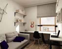 SKANDYNAWIA NA ŻOLIBORZU - Duże szare białe biuro kącik do pracy w pokoju, styl skandynawski - zdjęcie od design me too