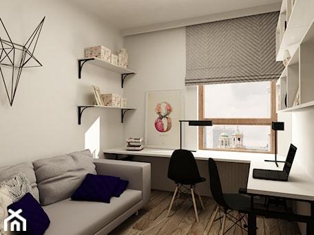 Aranżacje wnętrz - Biuro: SKANDYNAWIA NA ŻOLIBORZU - Duże szare białe biuro kącik do pracy w pokoju, styl skandynawski - design me too. Przeglądaj, dodawaj i zapisuj najlepsze zdjęcia, pomysły i inspiracje designerskie. W bazie mamy już prawie milion fotografii!