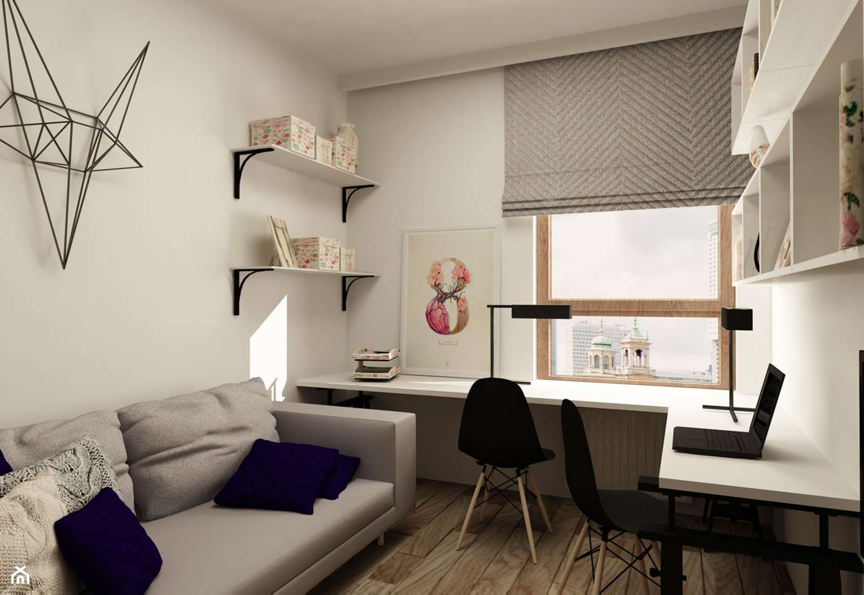 SKANDYNAWIA NA ŻOLIBORZU - Duże szare białe biuro kącik do pracy w pokoju, styl skandynawski - zdjęcie od design me too - Homebook