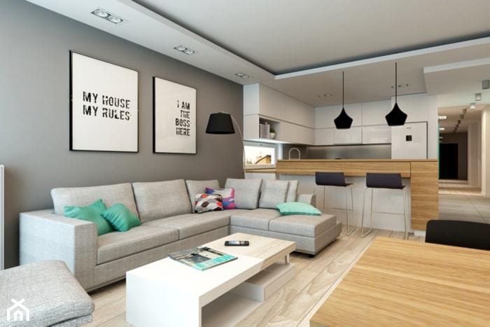 Mieszkanie Rembertów 80 m2 - Średni szary biały salon z kuchnią, styl nowoczesny - zdjęcie od design me too