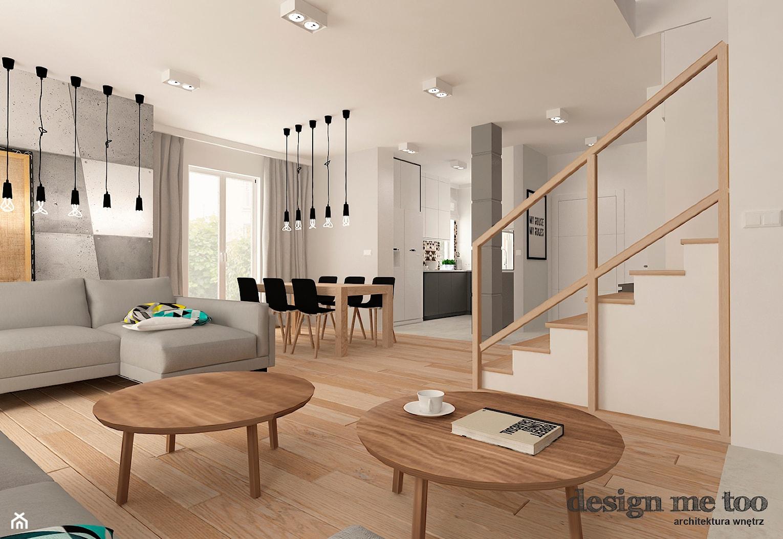 DOM W JÓZEFOSŁAWIU - Średni szary biały salon z kuchnią z jadalnią, styl nowoczesny - zdjęcie od design me too - Homebook